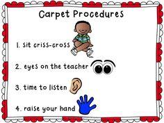 Carpet Procedures Poster and Reminder Cards FREEBIE