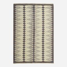 Berit Koenig. flatweave carpet. c. 1955, 52 w x 79 l in. Woven signature to edge: [SH BK].