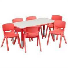 Flash Furniture Plastic Activity Table Set with 6 School Stacking... ($230) ❤ liked on Polyvore featuring home, children's room and children's furniture