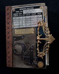 Hand Crafted Metal Cover Steampunk Journal pinning for reference Steampunk Cards, Steampunk Book, Gothic Steampunk, Journal Covers, Art Journal Pages, Art Journals, Handmade Journals, Handmade Books, Book Libros