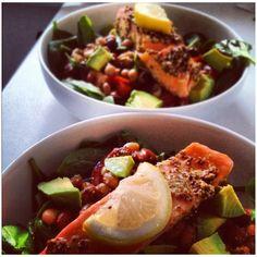 Hot smoked salmon and bean salad, with avocado and lemon and mustard dressing. Yum.