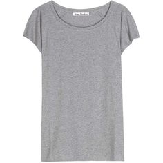 Acne Studios Narda Cotton T-Shirt (€110) ❤ liked on Polyvore featuring tops, t-shirts, shirts, tees, grey, grey shirt, cotton shirts, cotton t shirt, cotton tee and grey tee