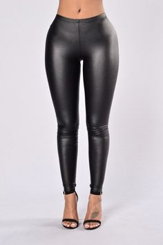 - Available in Black - Latex Legging - Mid Rise - Elastic Waist - Stretchy - 95% Polyester 5% Spandex