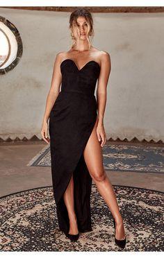 c9f45be060d Clothing   Max Dresses    Emmeline  Black Suedette Corset Maxi Dress Max  Dresses
