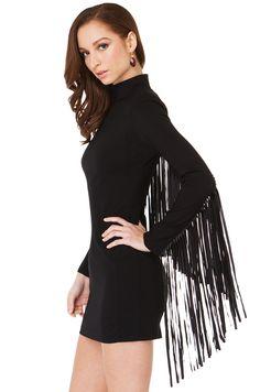 80924ed7b5e Sexy Long Sleeve Fringe Mini Black Dress | Bodycon Dresses | AKIRA Black  Long Sleeve Dress