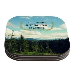 Life Is...Landscape Typography Coaster