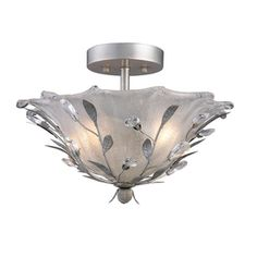 Portfolio 16-in W Silver Frosted Glass Semi-Flush Mount Light...This is the new fixture in my front entryway...so pretty!