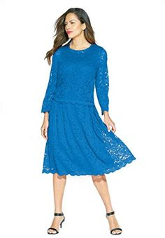 Roamans Womens Plus Size Lace Jacket Dress Bright Cobalt20 W >>> To view further for this item, visit the image link.