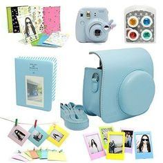 CAIUL 7 in 1 Fujifilm Instax Mini 8 Instant Camera Accessories Bundle( Blue Instax Mini 8 Case/ Mini Album/ Close-Up Selfie Lens/ 4 colors Close-Up Lens/ Wall Hang Frames/3 inch Frame/ Film Stickers)