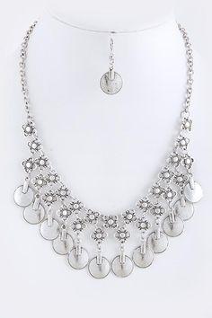Floral Disk Necklace Set