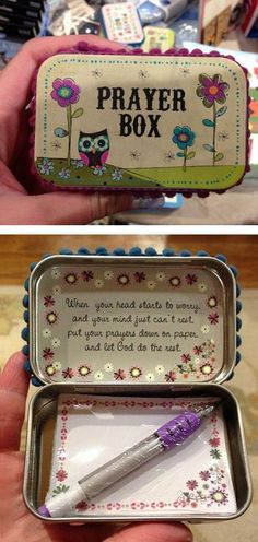 DIY Altoid Tin Prayer Boxes ❤︎ a sweet friend gave me one of these. I keep i… DIY Altoid Tin Prayer Boxes ❤︎ a sweet friend gave me one of these. I keep it on my desk and add prayers to it. Great gift idea, so start saving those Altoid tins! Easy Homemade Christmas Gifts, Inexpensive Christmas Gifts, Christmas Gifts For Kids, Homemade Gifts, Christmas Diy, Handmade Christmas, Christmas Child, Bible Crafts, Fun Crafts