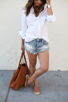 A lot of what I'm missing in my closet are spring/summer essentials. The classic white button up, the neutral tote, even the distressed jean shorts!