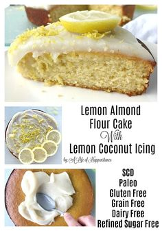 A fluffy and moist almond flour cake flavored with fresh lemons. The frosting is a creamy dairy free blend of coconut butter honey and lemons. This easy Paleo dessert is also SCD legal. It's gluten free grain free dairy free and refined sugar free. Almond Flour Cakes, Almond Flour Recipes, Cake Flour, Coconut Flour, Almond Flour Desserts, Coconut Sugar Recipes, Lemon Desserts, Lemon Recipes, Easy Desserts