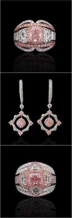 Gorgeous Pink & White Diamond Ring & Earrings