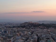 View of Athens from lycabettus hill. You can even see islands of saronic gulf