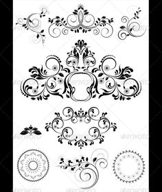 """Collection of Patterns and Round Frames  #GraphicRiver         Collected of calligraphic patterns,round frames,brushes and decor for pages   Vector Illustration.EPS-10; Main files and """"fully editable"""": Ai; EPS; PDF formats (with minimum Adobe version CS). Additional format: TIFF; PNG; JPEG.  Smart Object of the key.80-80, 590-700   All parts are isolated. You can use each part separately, to create any structure. Business card, for official documents, banners, cards, titles Vector format…"""