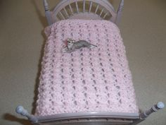 Hand Knit Pale Pink  Lacy Miniature  Blanket by DelsYarnBasket, $7.25