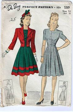 Vintage 1940s Dress and Jacket Pattern with by FaithfulFabrics