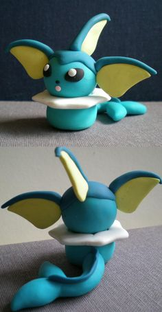 Chibi Vaporeon by Foureyedalien on DeviantArt Pokemon Cupcakes, Pikachu Cake, Pokemon Party, Pokemon Birthday, Clay Crafts, Crafts To Sell, Arts And Crafts, Geek Crafts, Cute Polymer Clay