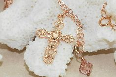 Cross Necklace  Rose Gold Cross Necklace by ornatetreasures, $38.00