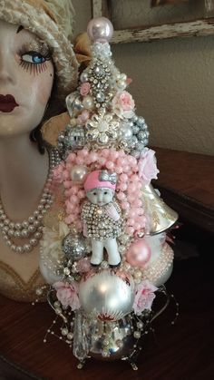 Vintage Bisque baby ORNAMENTS bottle brush Pink Tree  rhinestones silver bowl
