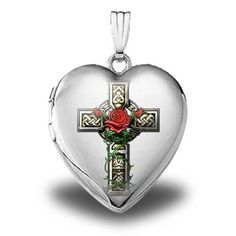 """Sterling Silver Celtic Cross with Rose"""" Heart Locket - 3/4 Inch X 3/4 Inch ** Find out more about the great product at the image link."""