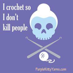 I crochet so I don´t kill people Crochet Crafts, Yarn Crafts, Crochet Yarn, Crochet Hooks, Crochet Projects, Kids Crafts, Knitting Projects, Wooly Bully, Crochet Humor