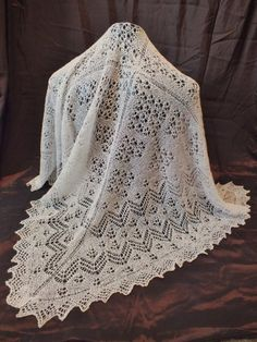 Duchess of Cambridge Fine Lace Baby Shetland Shawl  by NanasKnitIt, £150.00