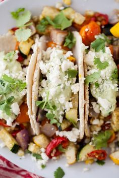 Kelly's CookHouse: Roasted Veg Tacos with Avocado Cream and Feta...mix with quinoa instead of putting in tacos...add shrimp or chicken for protein