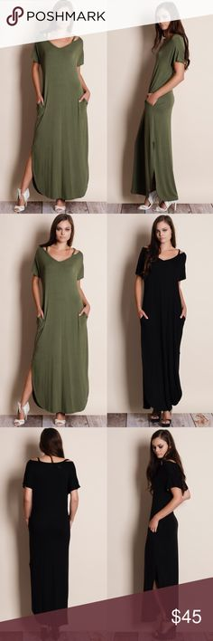 Cut Out Collar Maxi Dress Cut out collar maxi dress with side slits. Available in black and olive. This listing is for the OLIVE. This is an ACTUAL PIC of the item. All photography done personally by me. Please do not use photos without permission. Brand new. True to size. NO TRADES. Bare Anthology Dresses Maxi
