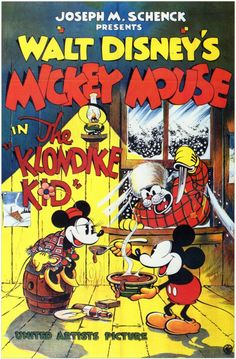 Walt Disney The Klondike Kid (1932) Director: Wilfred Jackson Stars: Mickey Mouse Minnie Mouse Animation Comedy B&W 7 min ~ Mickey plays piano in the Klondike Bar. He rescues a half-frozen Minnie. Pegleg Pierre steals her away. A dogsled chase follows, with Pluto pulling Mickey's sled. There's a battle at Pete's cabin with Pete and Mickey wearing bedsprings and bouncing. Pluto, chasing a rabbit, makes a giant snowball that sends the cabin downhill and eventually traps Pete.