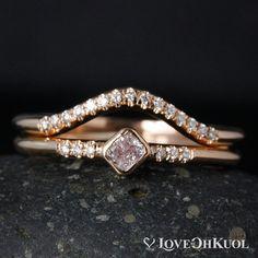 Cushion Pink Diamond Ring - 14Kt Rose Gold - Curved Wedding Band, Diamond Band