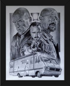 Framed Breaking Bad Original Sketch Art Poster Print by Innerwallz