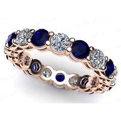 Diamant- Saphir- Memoirering 3.00 Karat aus 750 Roségold