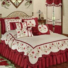 Bellelap Bedroom Adorable Luxury Bedroom Sets Brown And Red Comforter Rose Comforter, Floral Comforter, Red Bedding, King Bedding Sets, Comforter Sets, Luxury Bedding, King Comforter, Diy Bed Sheets, King Size Bed Sheets