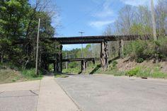 Abandoned Forrest Street Bridge. Steel stringer bridge over Forest Street on Abandoned Union Pacific Railroad, built in 1918. Eau Claire, WI