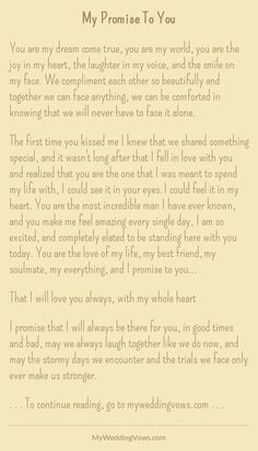 Wedding quotes and sayings vows i promise 51 Ideas Wedding Vows To Husband, Wedding Vows That Make You Cry, Best Wedding Vows, Simple Wedding Ceremony Script, Wedding Readings Unique, Sample Wedding Vows, Personal Wedding Vows, Romantic Wedding Vows, Bride Wedding Speech