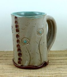 Soft slab handbuilt coffee mug via Etsy