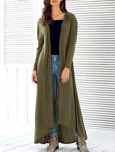 Hooded Maxi Cardigan - Army Green