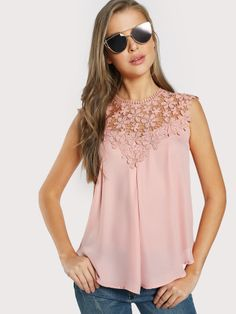 Shop Keyhole Back Daisy Lace Shoulder Shell Top online. SheIn offers Keyhole Back Daisy Lace Shoulder Shell Top & more to fit your fashionable needs. Fashion News, Boho Fashion, Fashion Top, Pink Lace Tops, Lacy Tops, Bohemian Mode, Shell Tops, Ladies Dress Design, Sleeveless Blouse