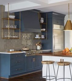 blue cabinets, Wood and Brass Kitchen Shelves Suspended From the Ceiling Kitchen Ikea, Blue Kitchen Cabinets, Brass Kitchen, New Kitchen, Kitchen Decor, Kitchen Backsplash, Teal Cabinets, Backsplash Ideas, Upper Cabinets