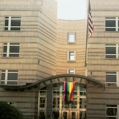Rainbow flag at the U.S. Embassy in Berlin, Germany