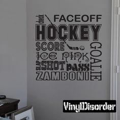 Faceoff Score Goalie Zamboni Hockey Wall Decal - Vinyl Decal - Wall Quote - Mv001