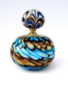 Vintage Murano Swirl Ann Primrose  Blown Glass Perfume Scent Bottle