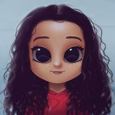 Cartoon, Portrait, Digital Art, Digital Drawing, Digital Painting, Character Design, Drawing, Big Eyes, Cute, Illustration, Art, Girl, Georgie, Diaz, Disney, Stuck in the Middle, Curls, Curly Hair