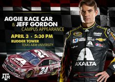 Jeff Gordon visits Texas A&M next week with a special Aggie maroon race car! Whoop!