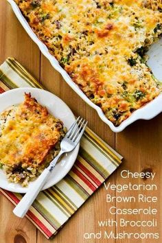 Cheesy Brown Rice Casserole with Broccoli and Mushrooms