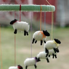 Made to Order - Cascading Rainbow Mini Sheep Mobile - Needle Felted Nursery Decor