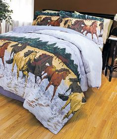 """RUNNING HORSES"" Western Bedding Collection These comforter sets will fly off our shelves! Comforters are reversible and made of cotton/polyester with polyfill. Each set includes comforter, bedskirt and 2 shams."