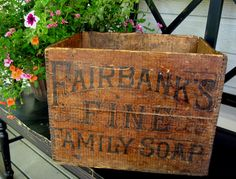 Antique Vintage Wood Box or Crate Fairbank's by VillaChanticler Informations About Your place to buy Wooden Crate Boxes, Vintage Wooden Crates, Old Crates, Vintage Box, Wooden Bowls, Vintage Signs, Antique Crocks, Crate Furniture, Painted Furniture